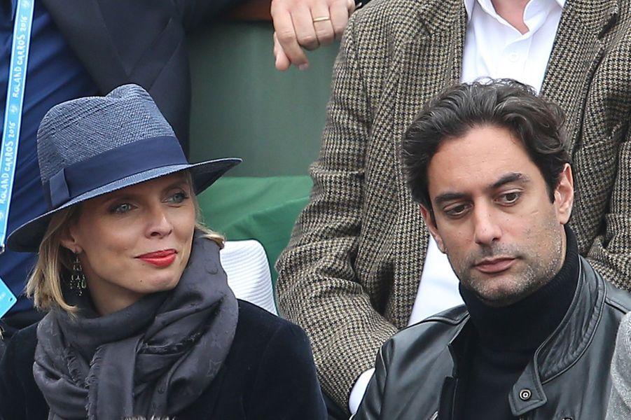 Sylvie Tellier et son compagnon Laurent à Roland Garros, le 5 juin 2016.