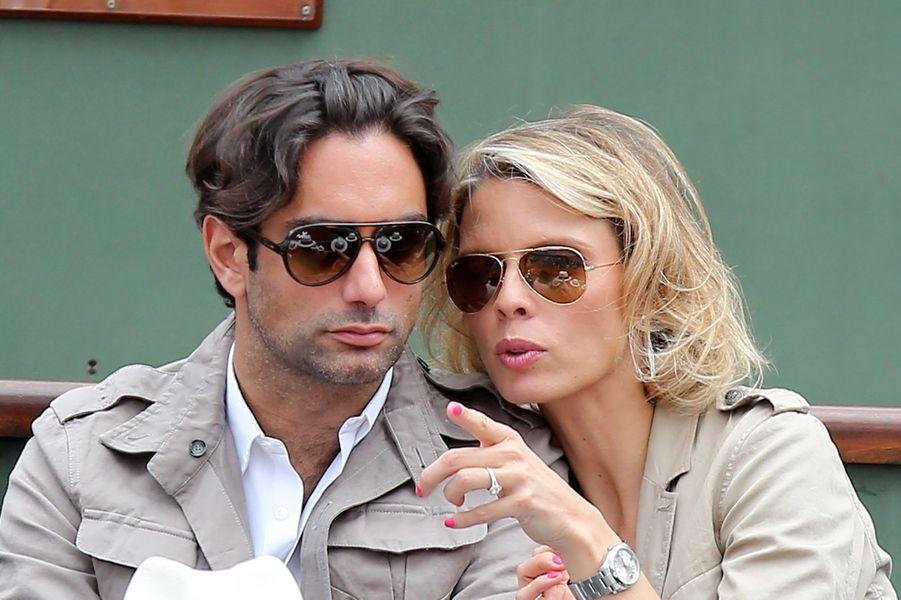 Sylvie Tellier et son compagnon Laurent à Roland Garros, le 2 juin 2013.