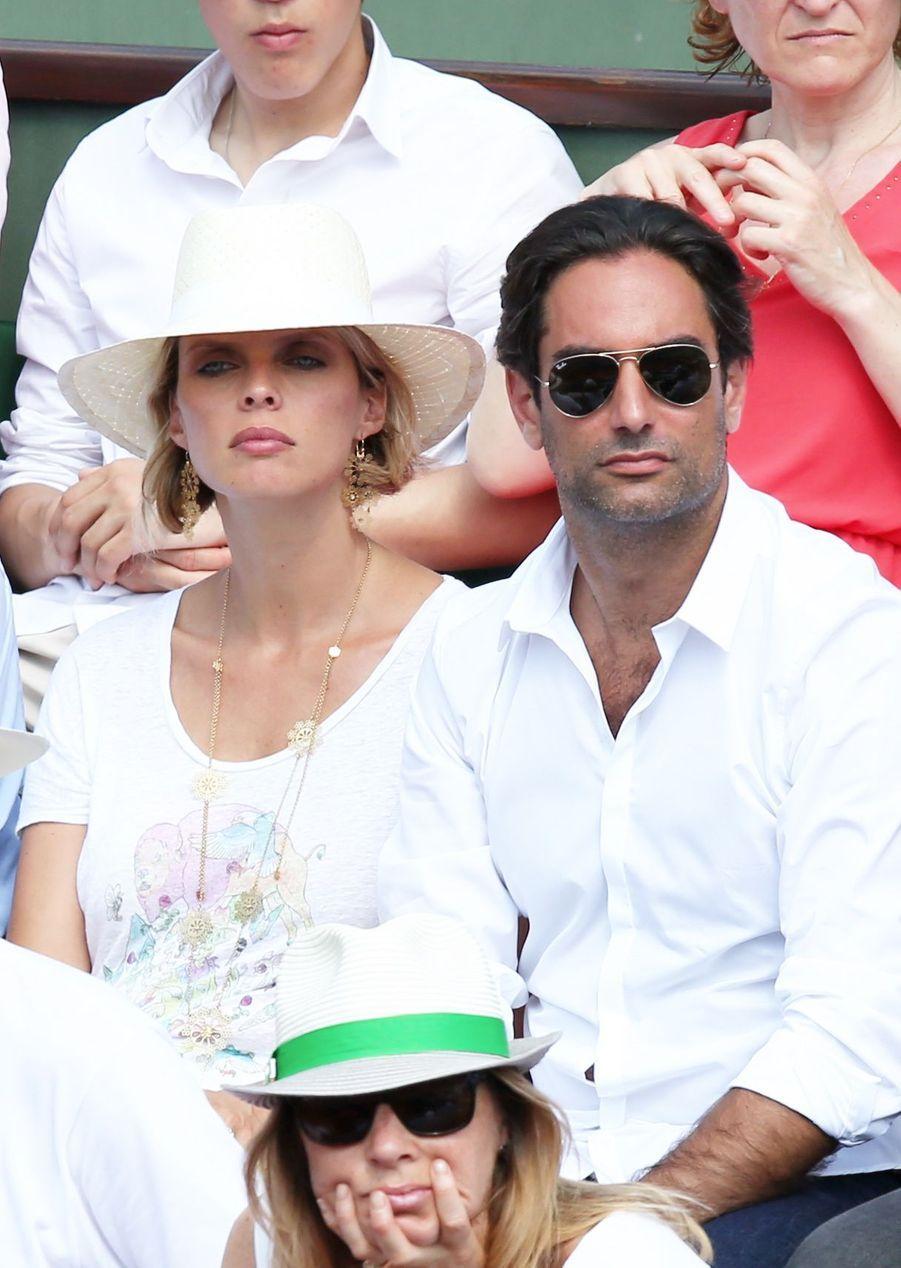 Sylvie Tellier et Laurent à Roland Garros, le 8 juin 2014.