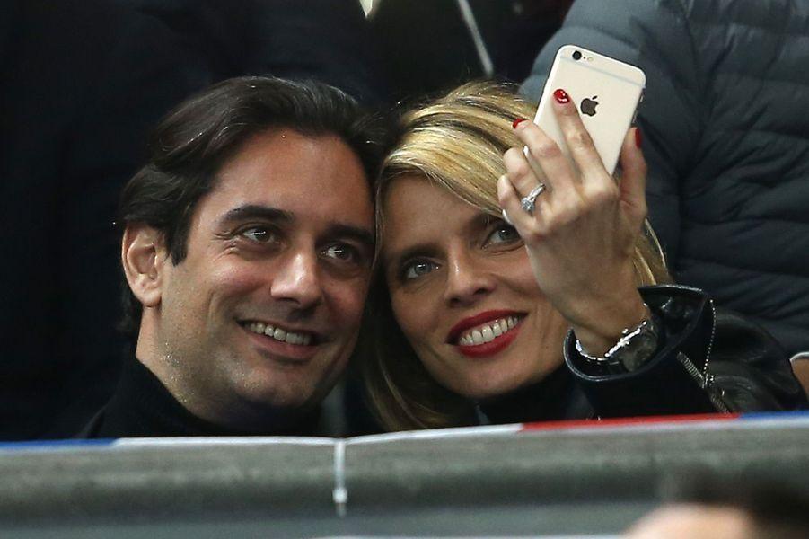 Sylvie Tellier et Laurent au Stade de France, le 29 mars 2016.