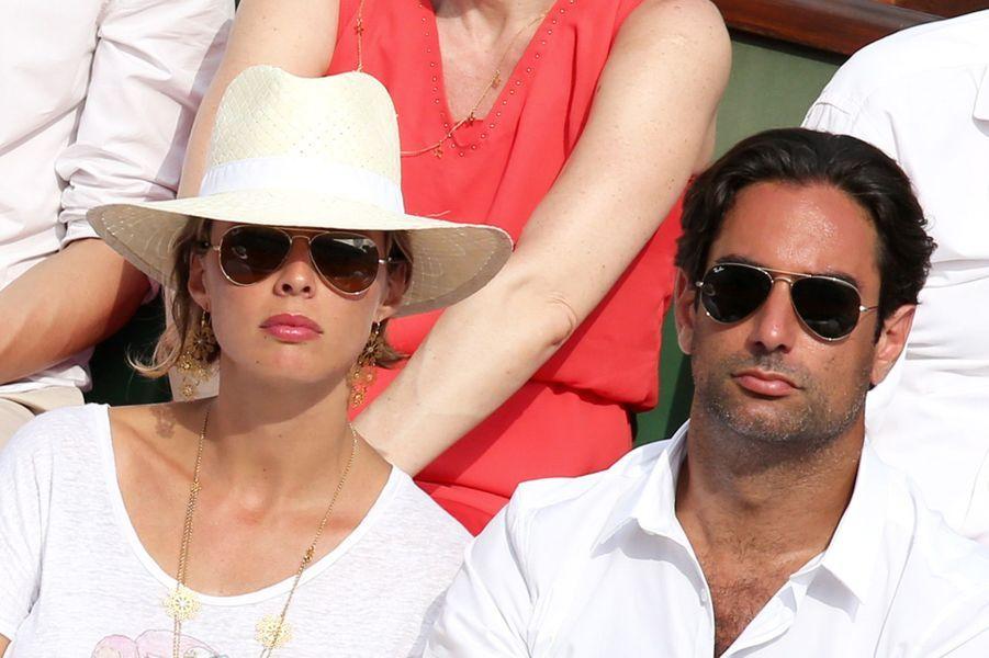 Sylvie Tellier et son compagnon Laurent à Roland Garros, le 8 juin 2014.