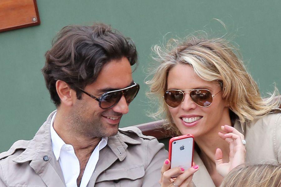 Sylvie Tellier et Laurent à Roland Garros, le 2 juin 2013.