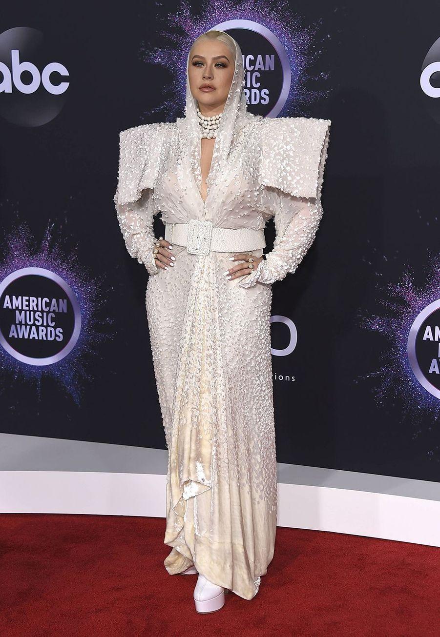 Christina Aguilera lors de la cérémonie des American Music Awards dimanche 24 novembre 2019 à Los Angeles.
