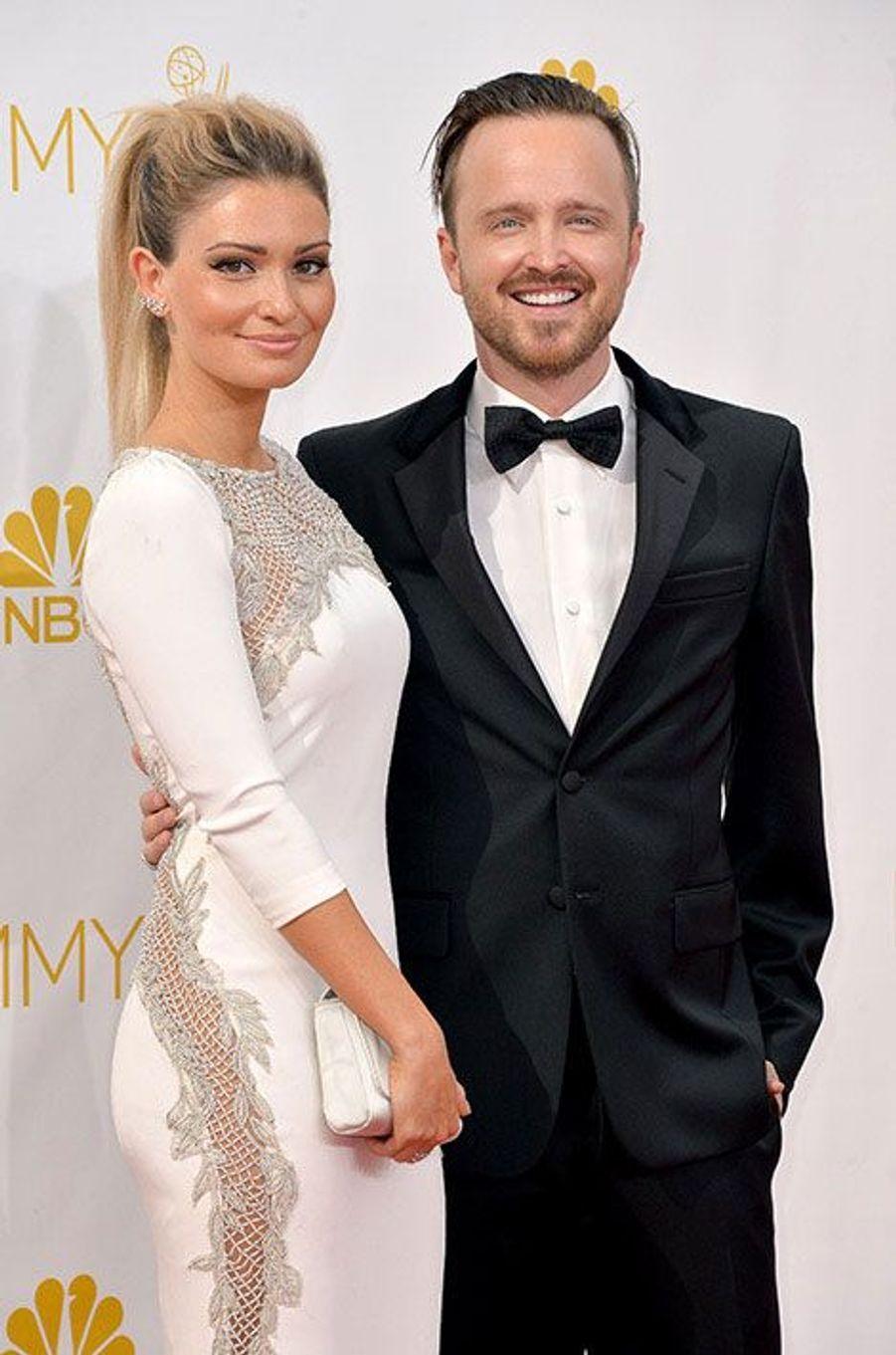 Aaron Paul et Lauren Parsekian aux Emmy Awards 2014
