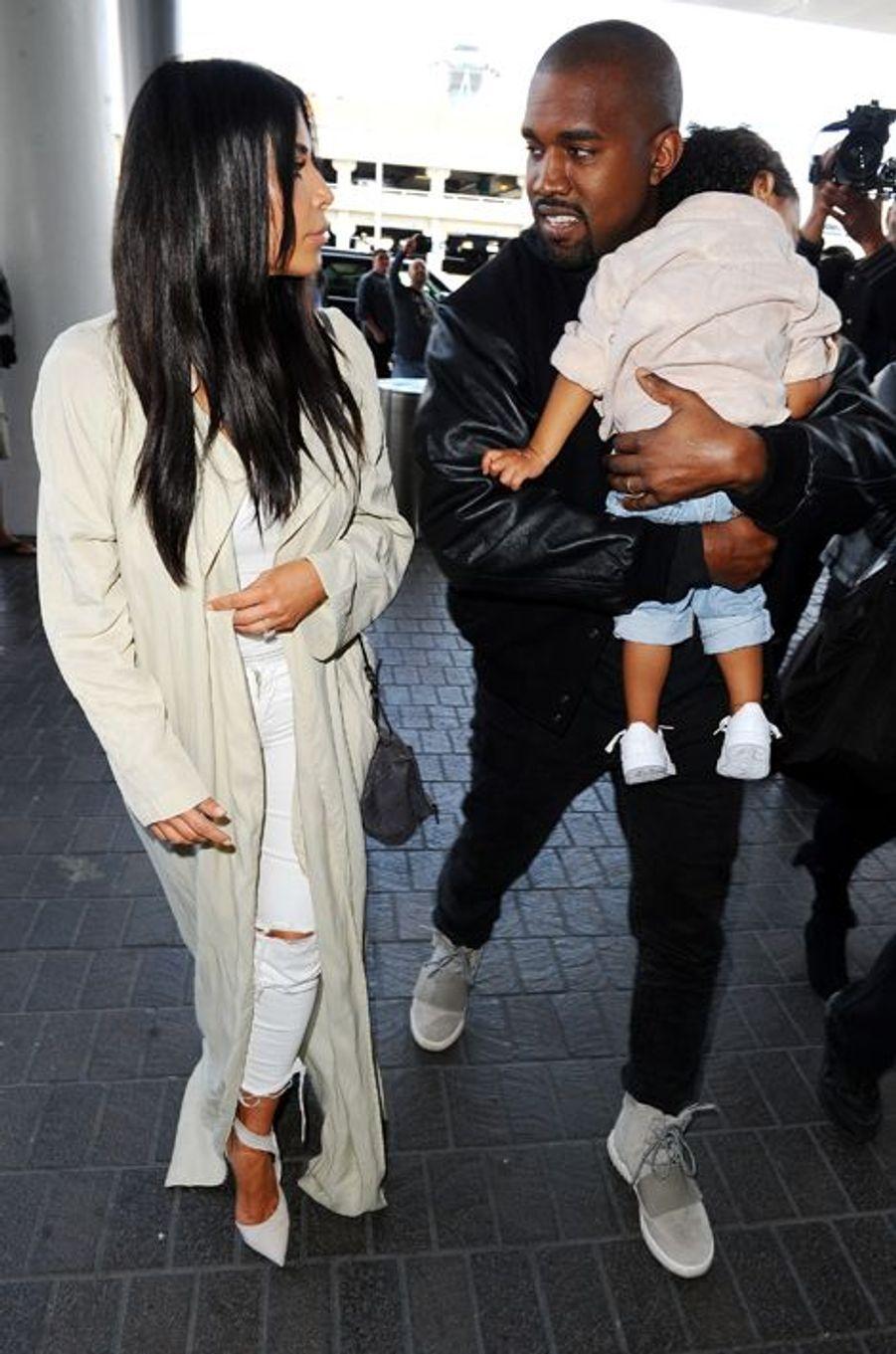 Kim Kardashian, Kanye West et North à Los Angeles