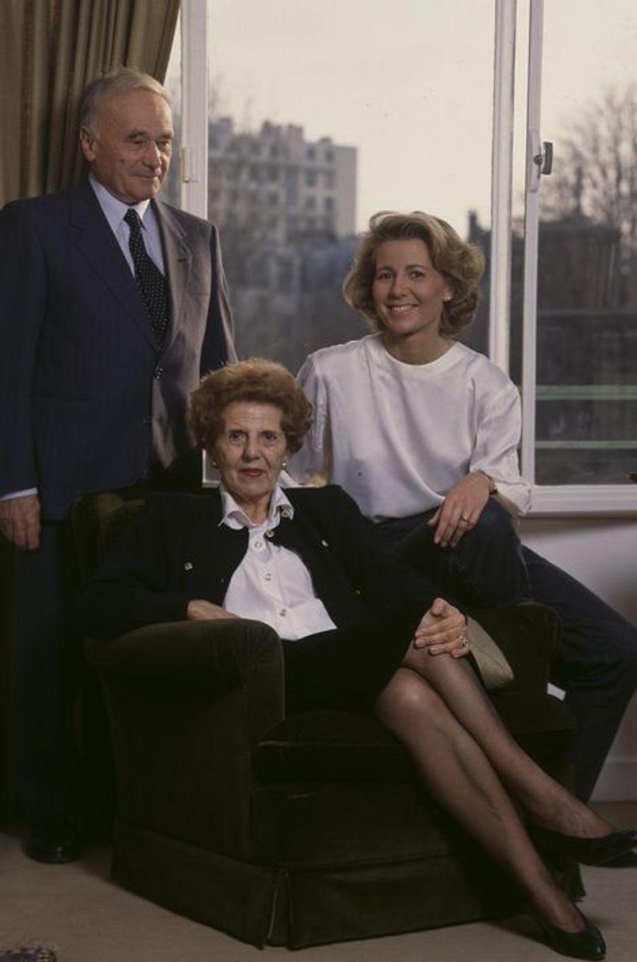 Claire Chazal avec ses parents, Jean et Josette