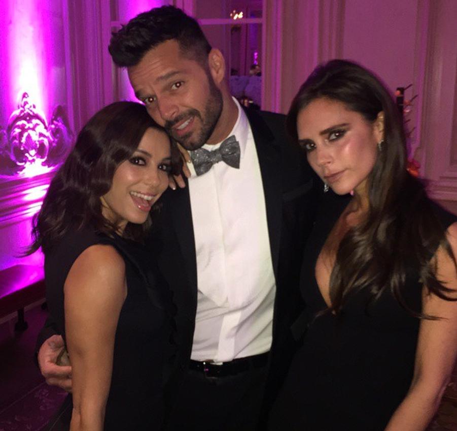 Avec Ricky Martin et Victoria Beckham au Global Gift Gala à Londres le 17 novembre 2014