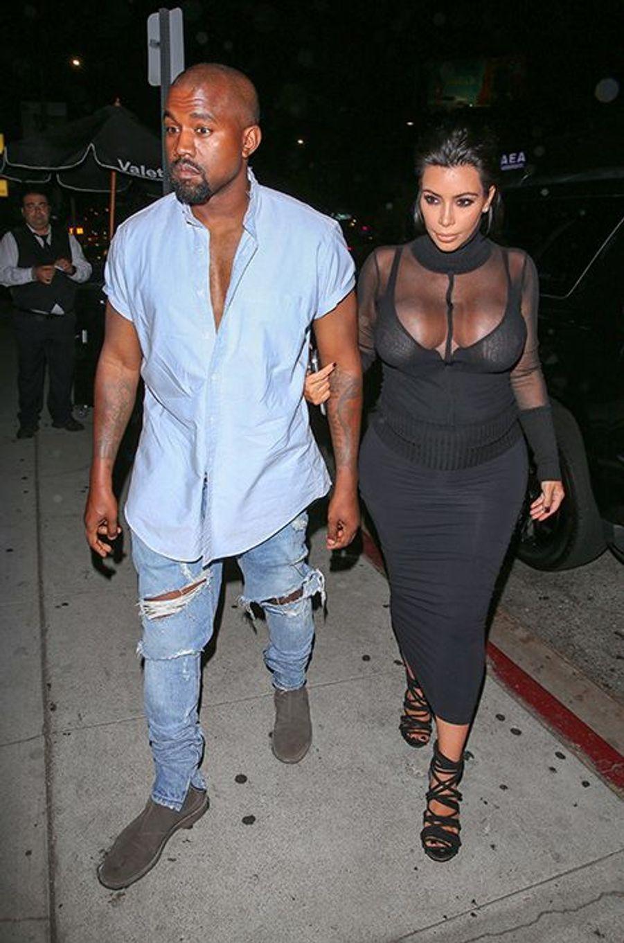 Kanye West et Kim Kardashian à Los Angeles le 9 août 2015
