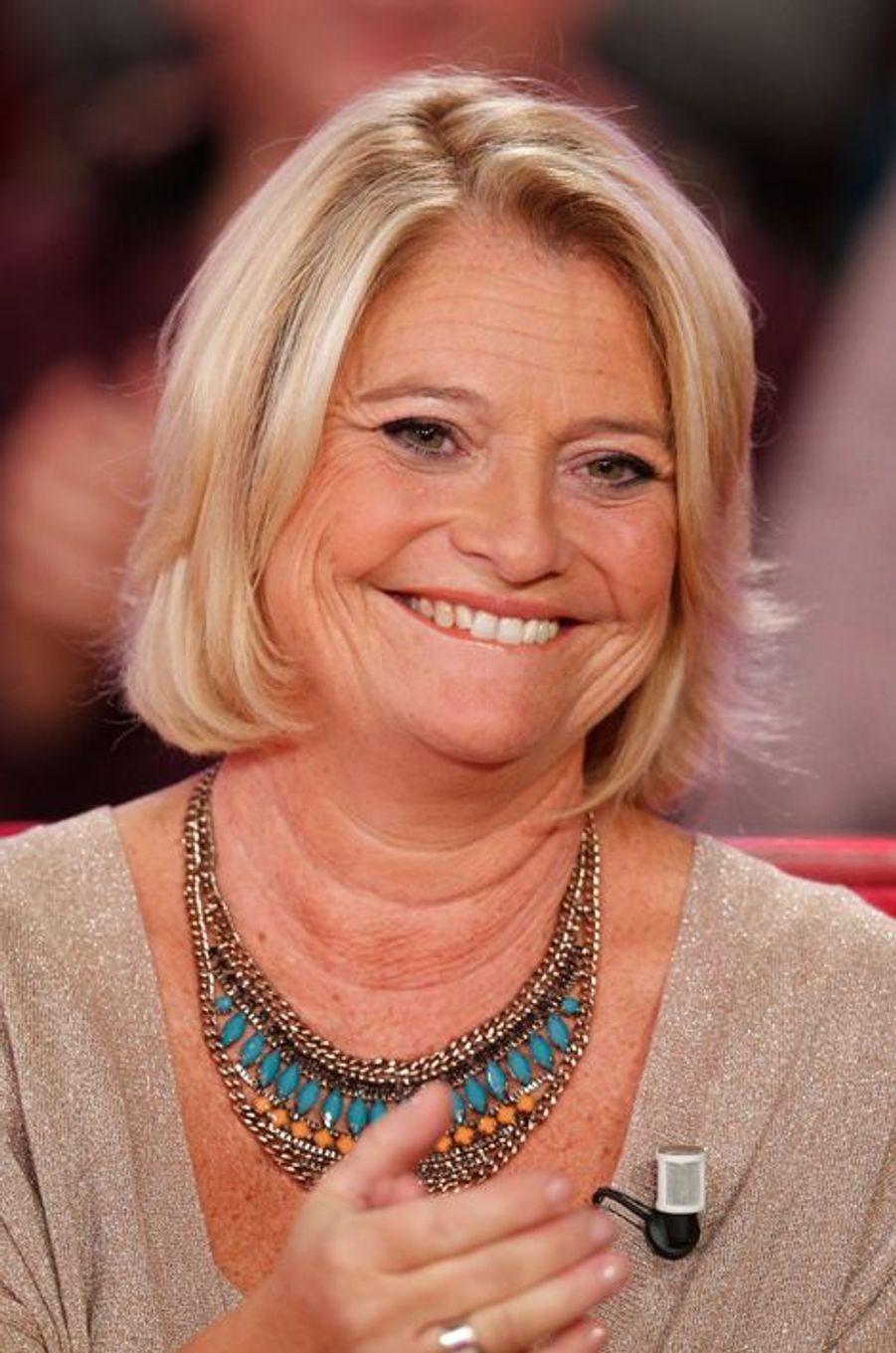 """Marina Carrère d'Encausse lors de l'enregistrement de l'émission """"Vivement dimanche"""", le 23 septembre 2015."""