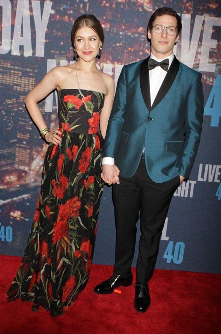Andy Samberg et sa compagne Joanna à New York le 15 février 2015