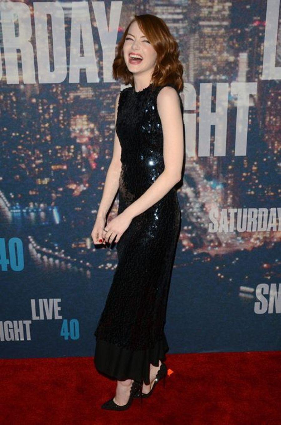 Emma Stone à New York le 15 février 2015