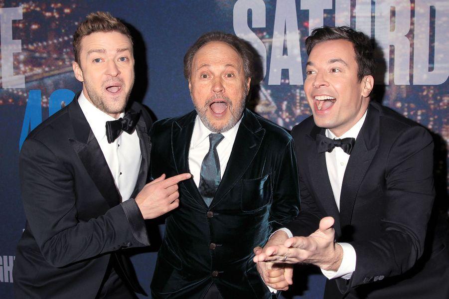 Justin Timberlake, Billy Crystal et Jimmy Fallon à New York le 15 février 2015