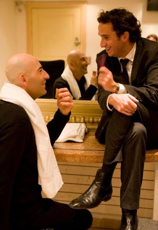 Jeudi soir, au Dôme, Canteloup fait son show... puis bavarde avec le « boss », Alexandre Bompard.