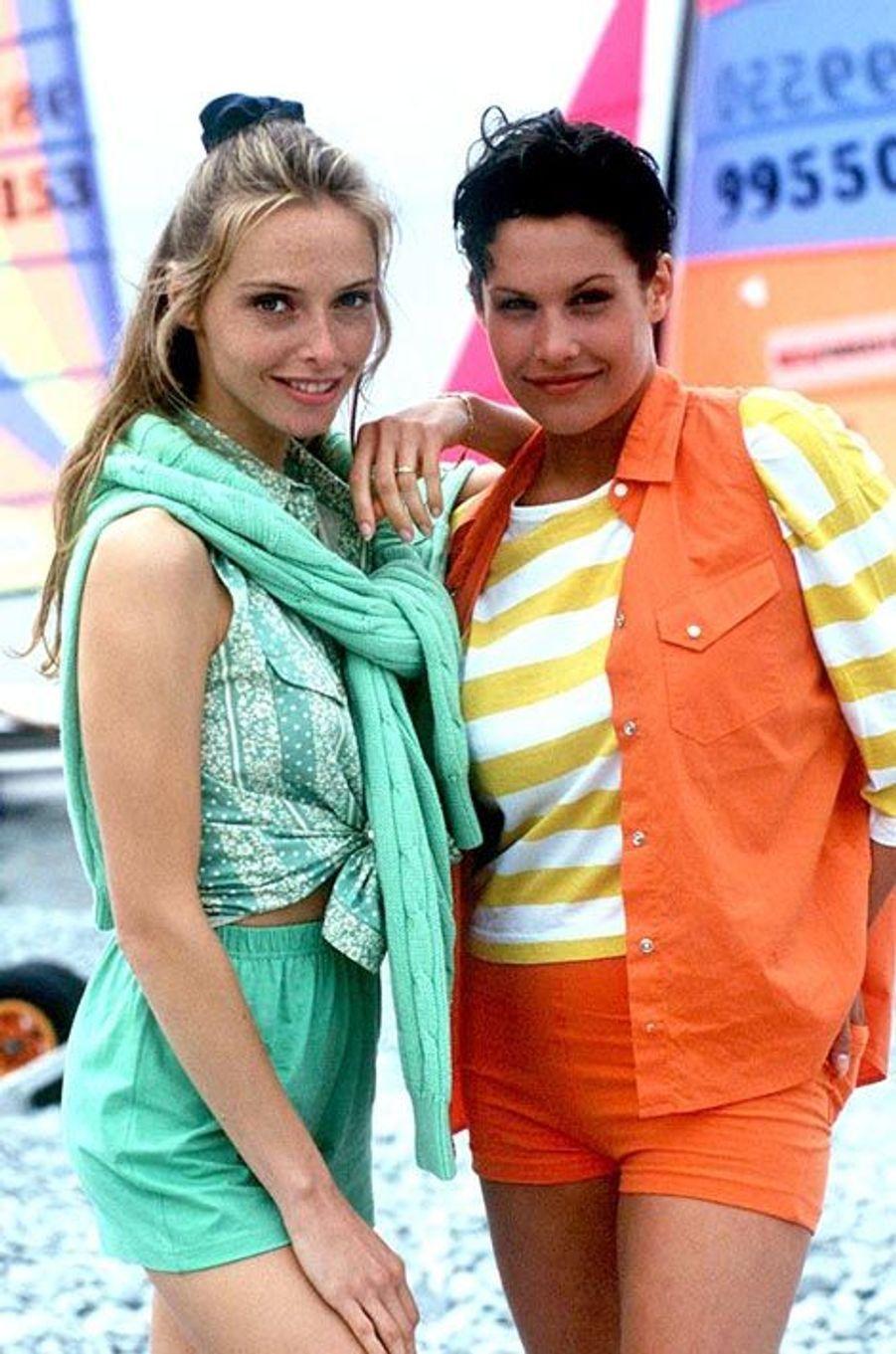 Tonya Kinzinger et Astrid Veillon en 1994 sur le tournage d'Extrême Limite