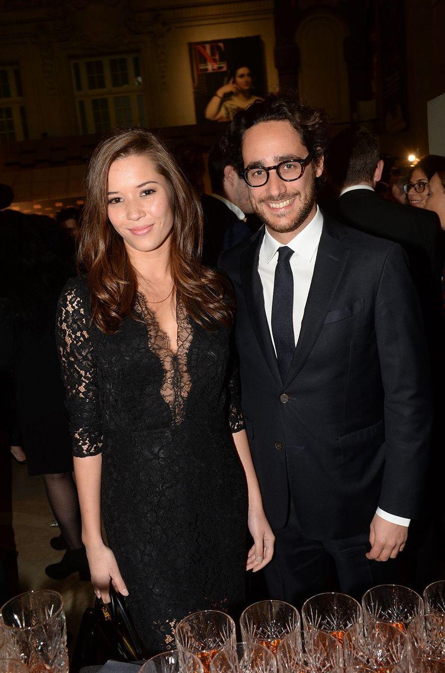 Thomas Hollande et sa compagne Emilie, à la soirée GQ à Paris, le 23 novembre 2016.