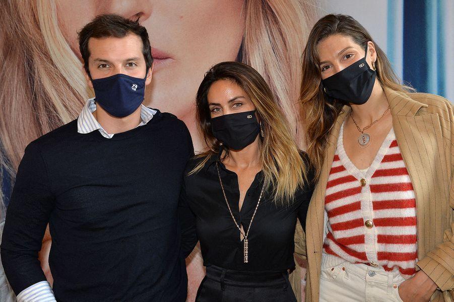 Juan Arbelaez, Valérie Messika et Laury Thillemanà l'hôtel de Crillon à Paris le 5 octobre 2020