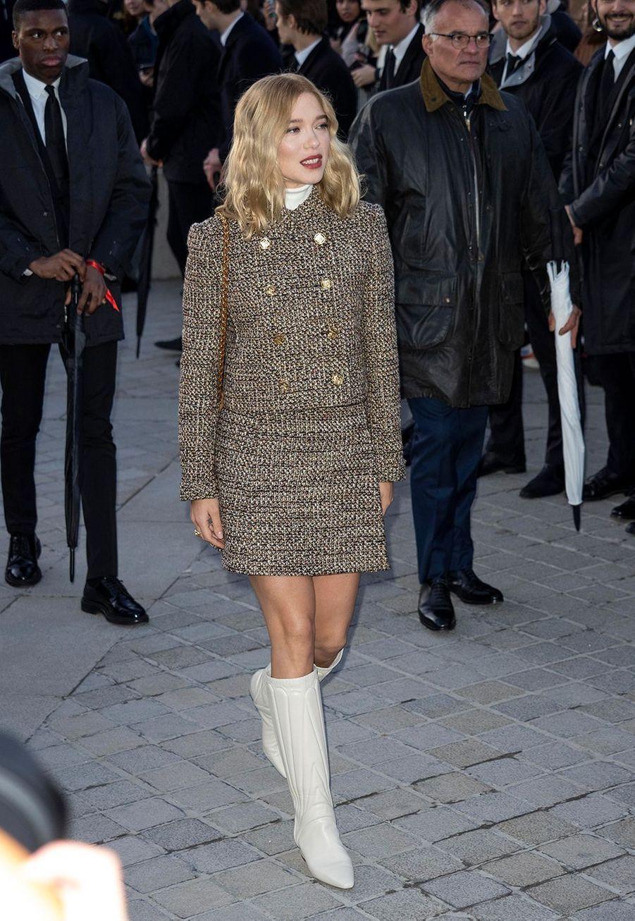 Léa Seydouxau défilé prêt-à-porter automne-hiver 2020-2021 Louis Vuitton à Paris le 3 mars 2020.