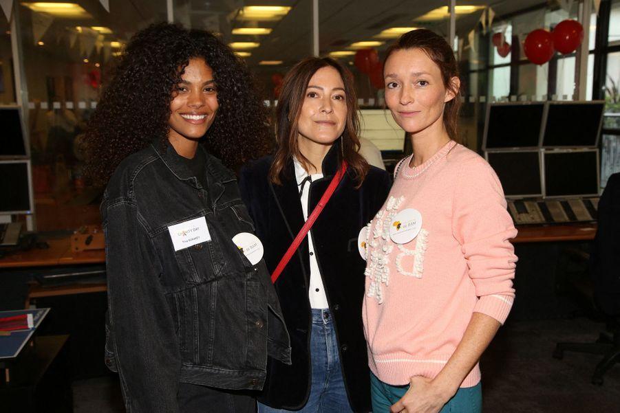 Tina Kunakey, Karen Ann et Audrey Marnaylors de la 15e édition du Charity Day organisé par Aurel BGC en mémoire des victimes du 11 septembre 2001, à Paris le 11 septembre 2019