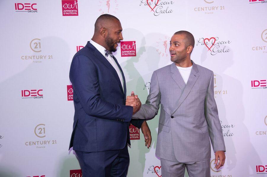 Boris Diaw et Tony Parkerau gala Par Coeur au Pavillon d'Armenonville à Paris en octobre 2019