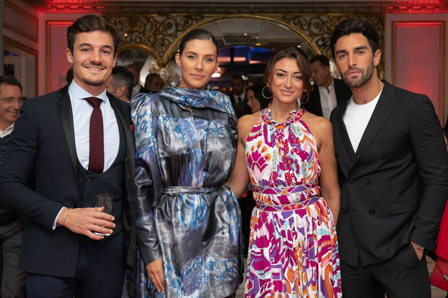 Camille Cerf, son compagnon Cyrille, Rachel Legrain-Trapani et son compagnon Valentin Leonardau gala Par Coeur au Pavillon d'Armenonville à Paris en octobre 2019