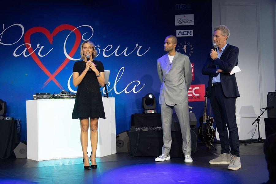 Sylvie Tellier, Tony Parker et Denis Brogniartau gala Par Coeur au Pavillon d'Armenonville à Paris en octobre 2019