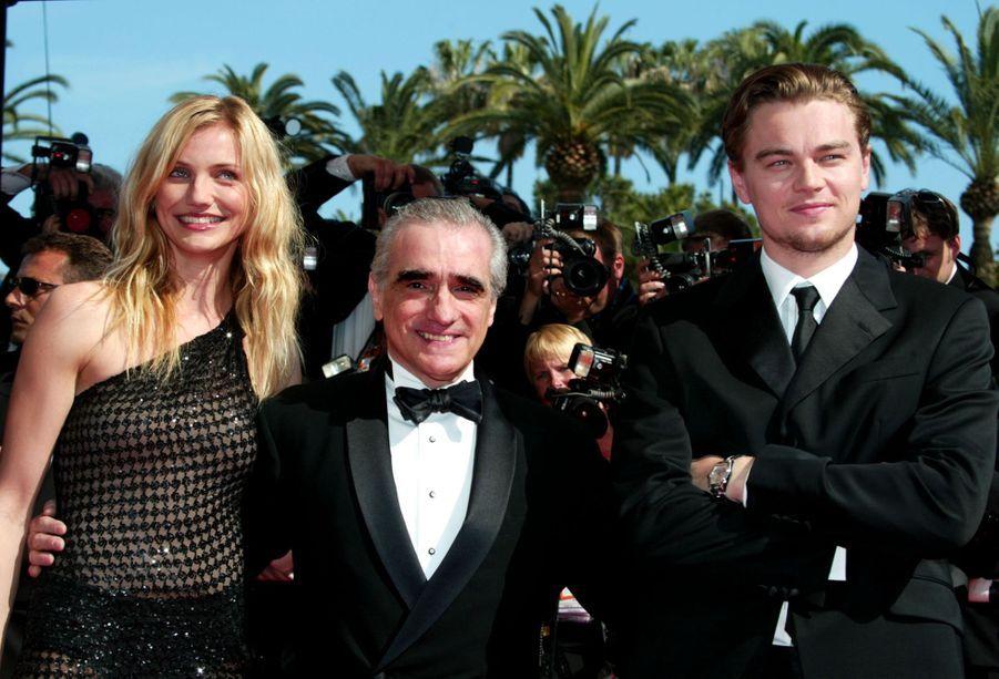Leonardo DiCaprio avec Cameron Diaz et Martin Scorsese au photocall de «Gangs of New York» au Festival de Cannes le 20 mai 2002