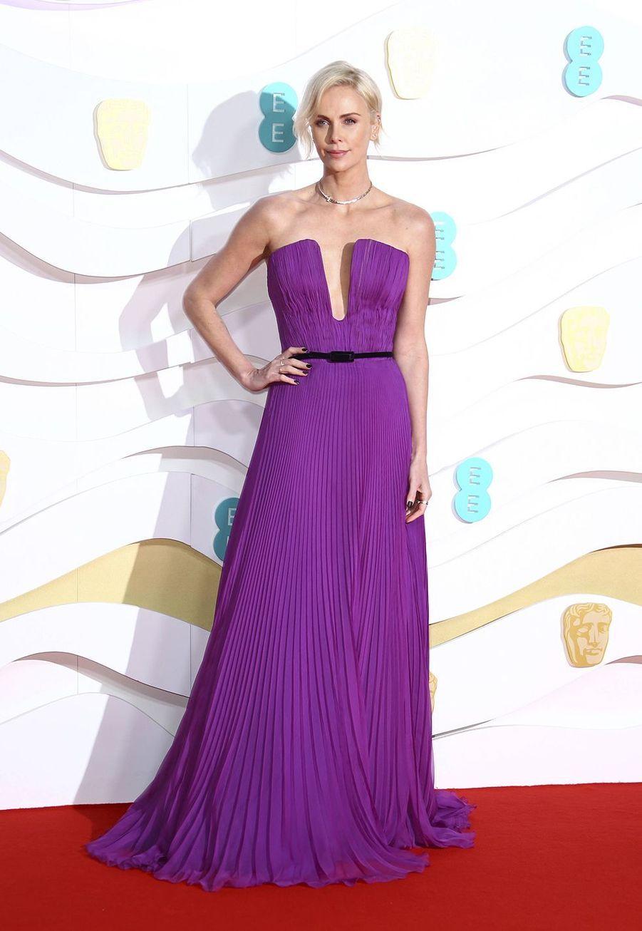 Charlize Theron (en robe Dior)à la73e cérémonie des British Academy Film Awards à Londres le 2 février 2020