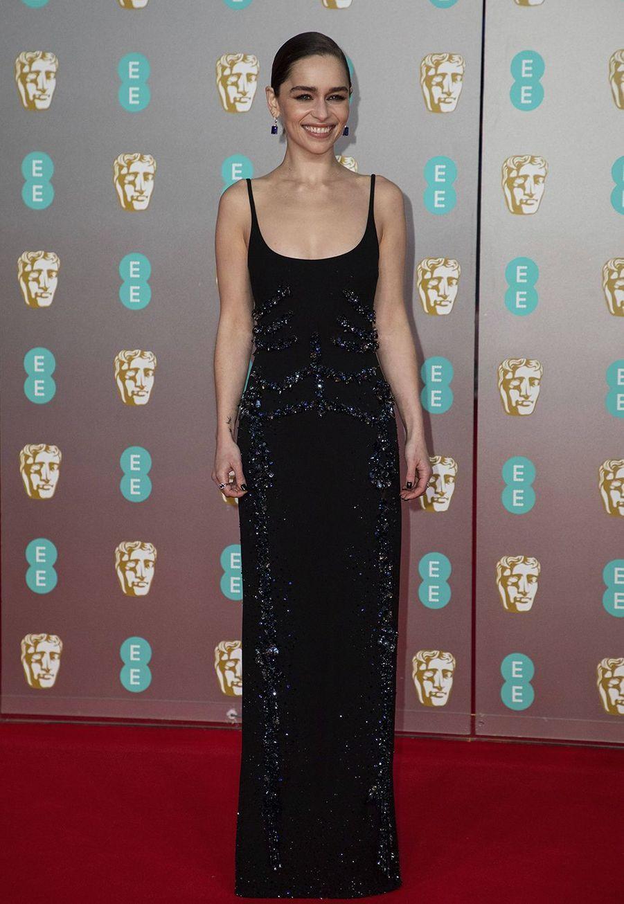Emilia Clarke (en robeSchiaparelli Couture)à la73e cérémonie des British Academy Film Awards à Londres le 2 février 2020