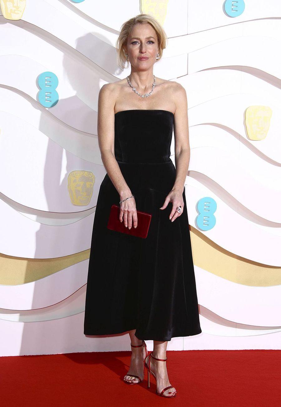 Gillian Andersonà la73e cérémonie des British Academy Film Awards à Londres le 2 février 2020