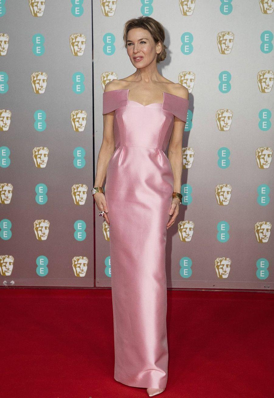 Renée Zellweger (en robe Prada)à la73e cérémonie des British Academy Film Awards à Londres le 2 février 2020