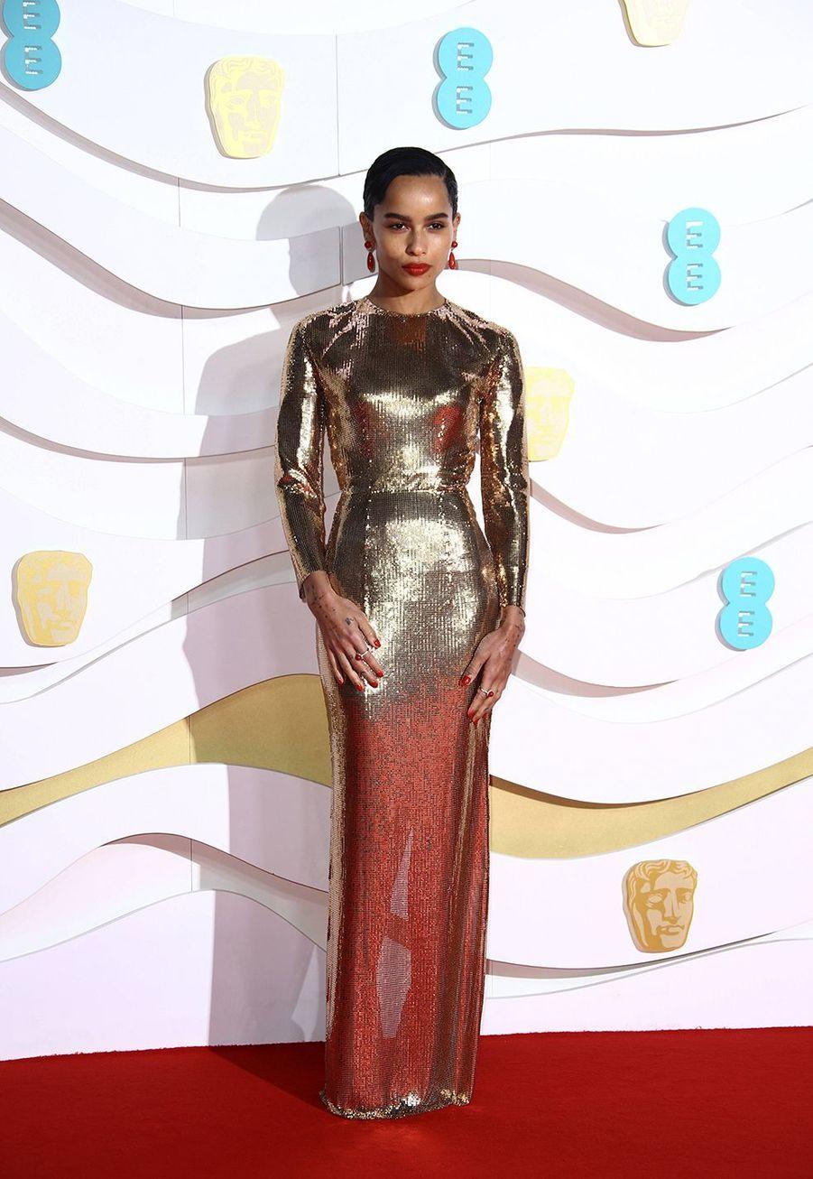 Zoë Kravitz (en robe Saint Laurent)à la73e cérémonie des British Academy Film Awards à Londres le 2 février 2020