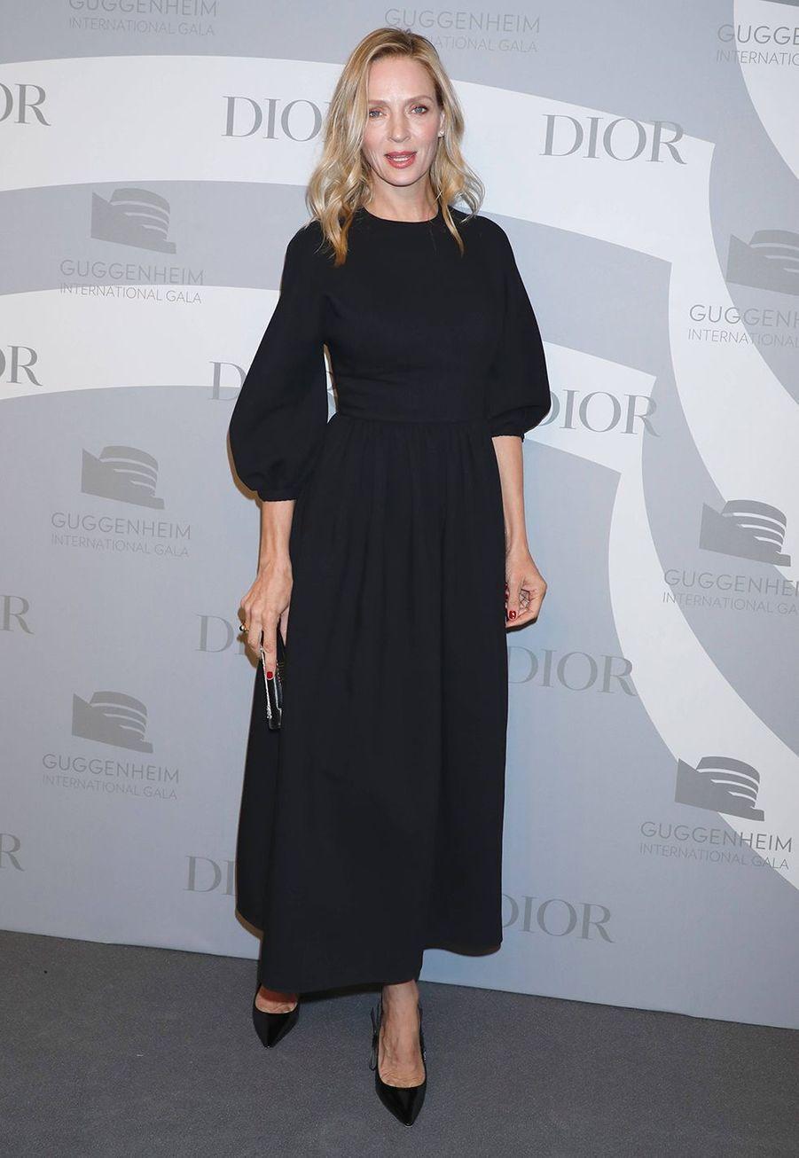 Uma Thurman lors du gala international duGuggenheim le 14 novembre 2019 à New York.