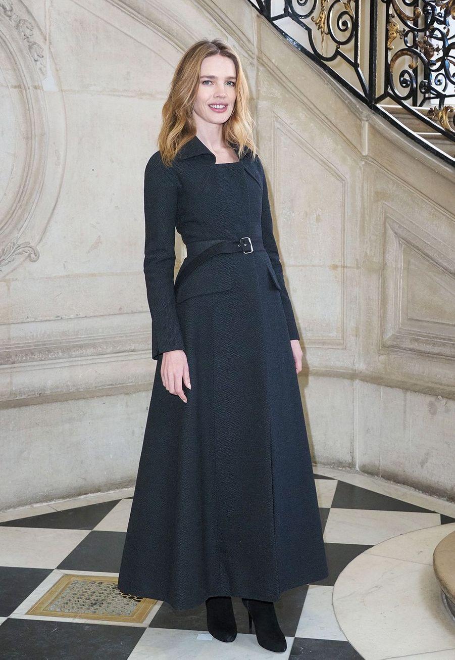 Natalia Vodianovalors du défilé DiorHaute Couture printemps-été 2020, qui a eu lieu au Musée Rodin lundi 20 janvier 2020.