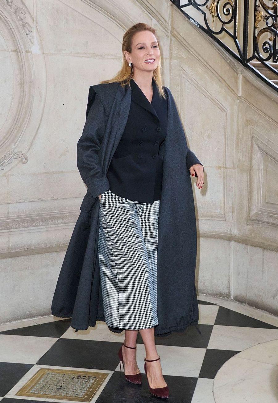 Uma Thurmanlors du défilé DiorHaute Couture printemps-été 2020, qui a eu lieu au Musée Rodin lundi 20 janvier 2020.