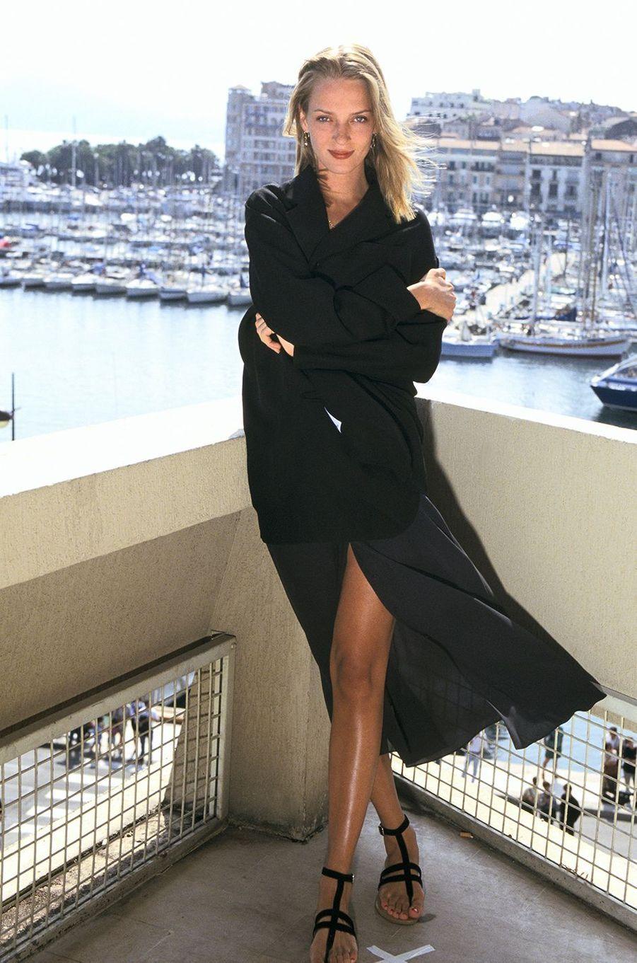 Uma Thurman au Festival de Cannes en 1993 pour le film «Mad Dog and Glory»