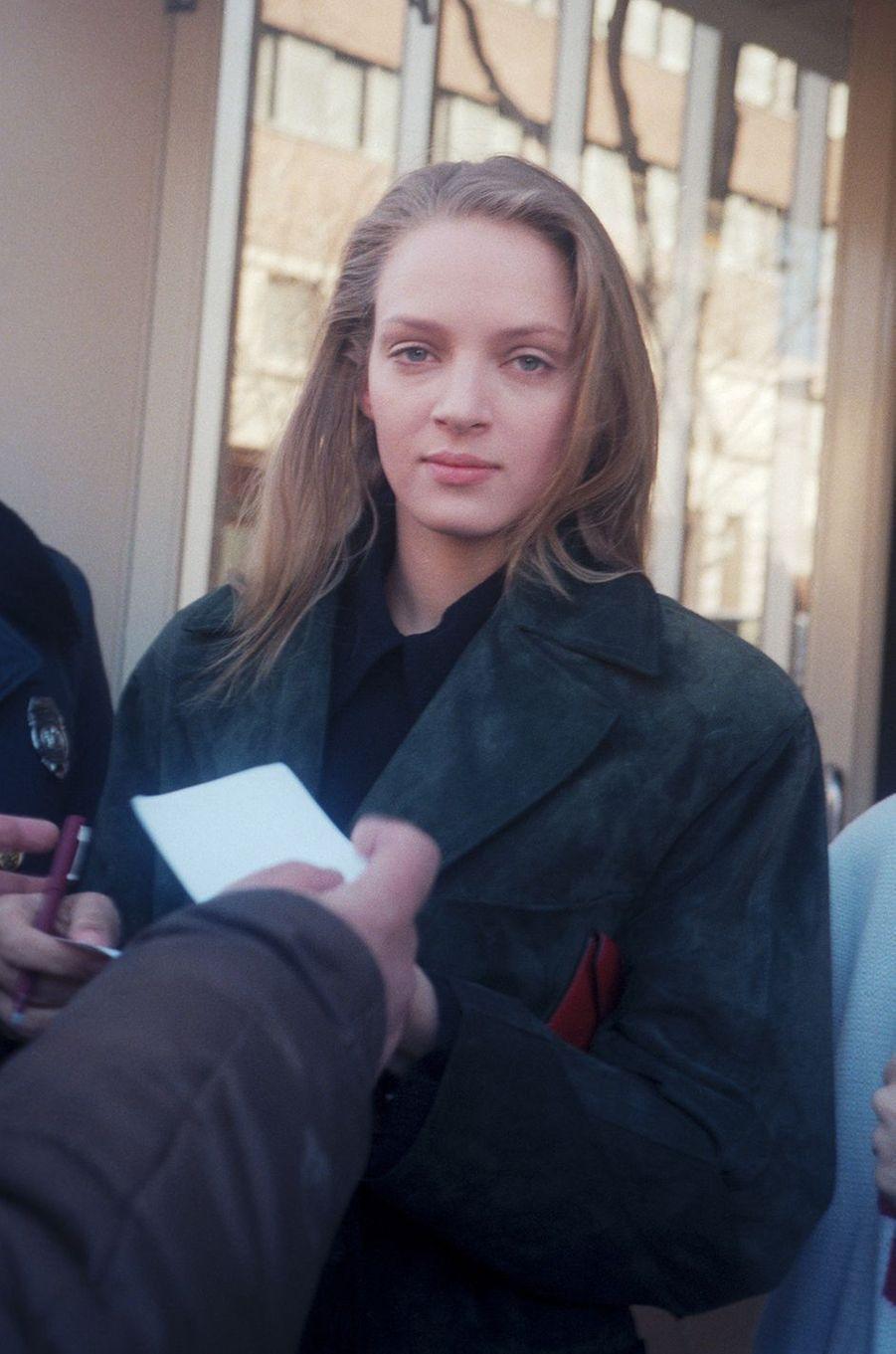Uma Thurman à New York en 1990