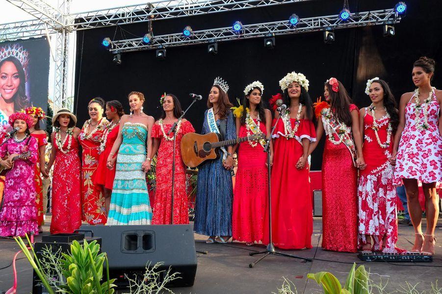 Miss France 2019 Vaimalama Chaves de retour à Papeete, le 22 décembre 2018.