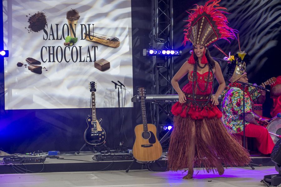 Vaimalama Chaves au Salon du Chocolat à Paris le lundi 29 octobre 2019.