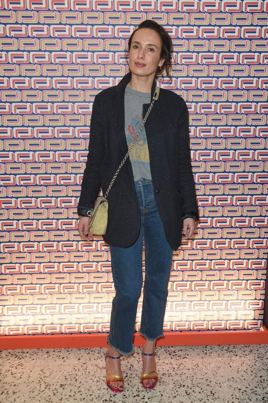 Amelle Chahbià la présentation Lancel lors de la Fashion Week de Paris le 27 février 2019