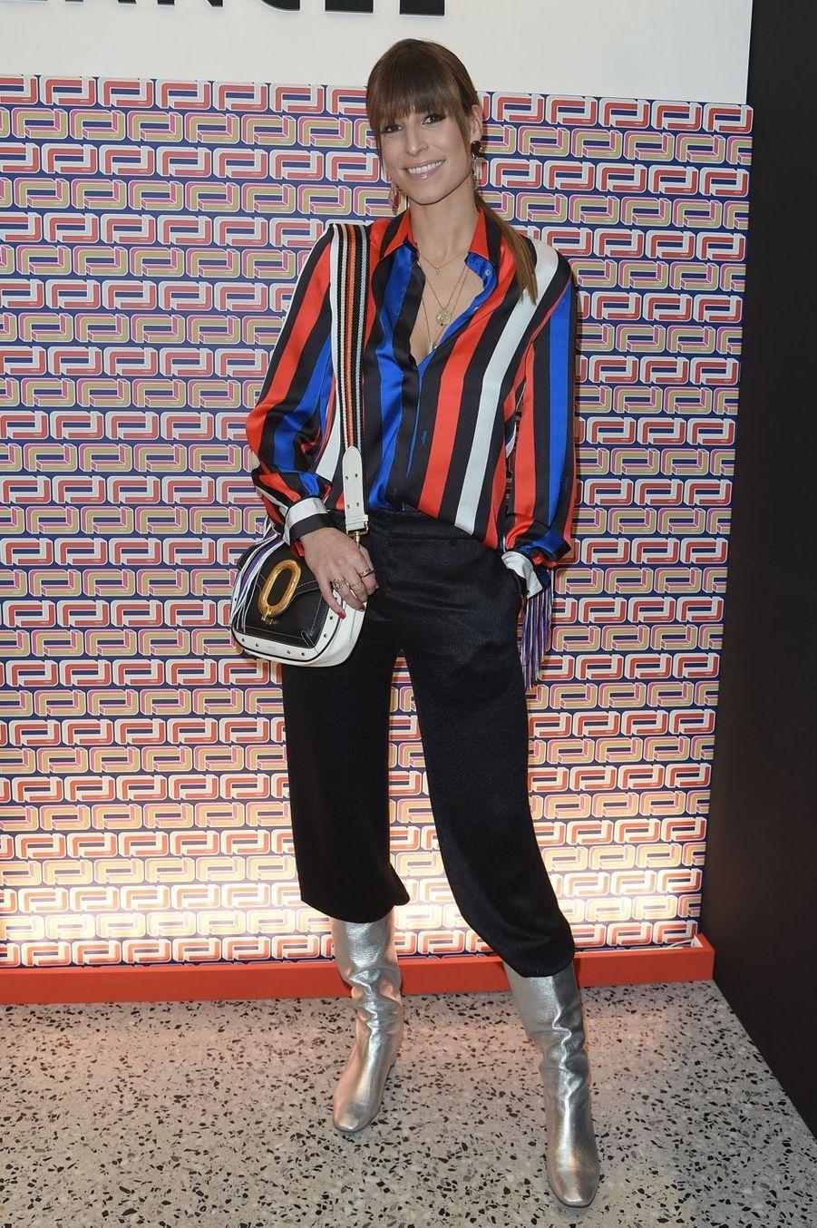 Laury Thilleman à la présentation Lancel lors de la Fashion Week de Paris le 27 février 2019