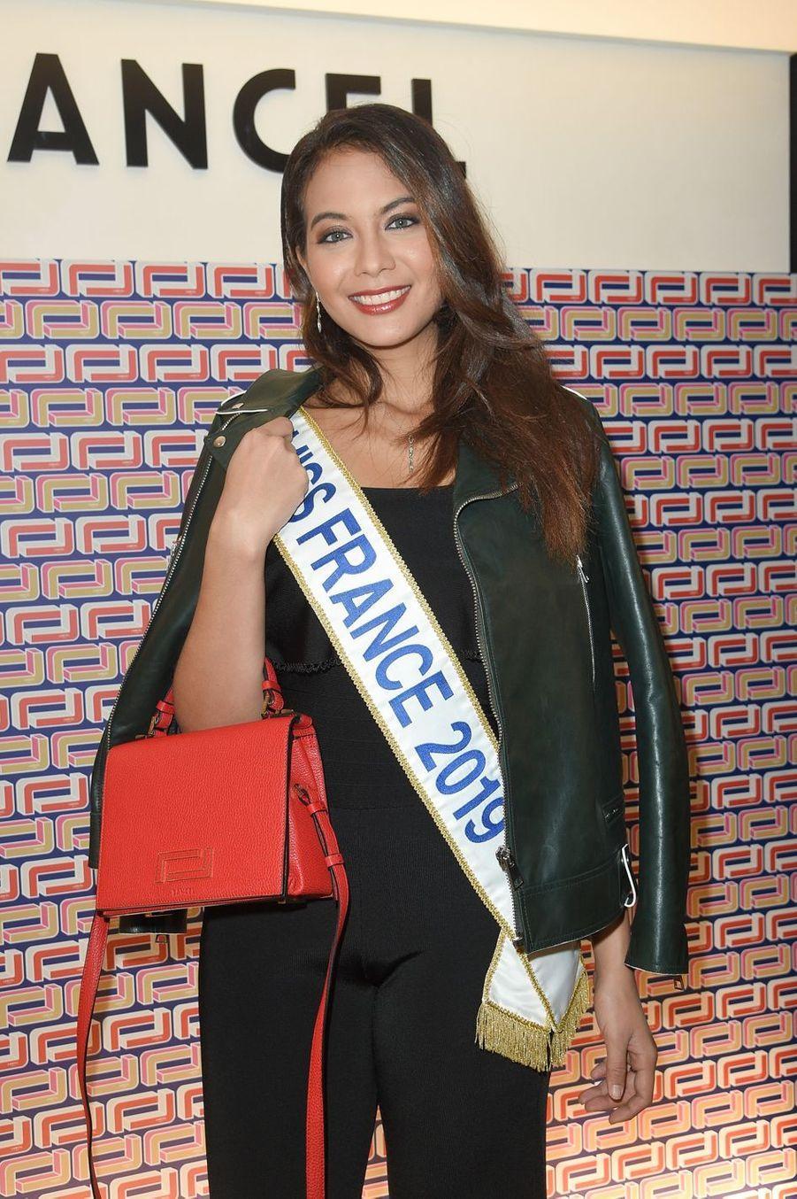 Vaimalama Chaves (Miss France 2019) à la présentation Lancel lors de la Fashion Week de Paris le 27 février 2019