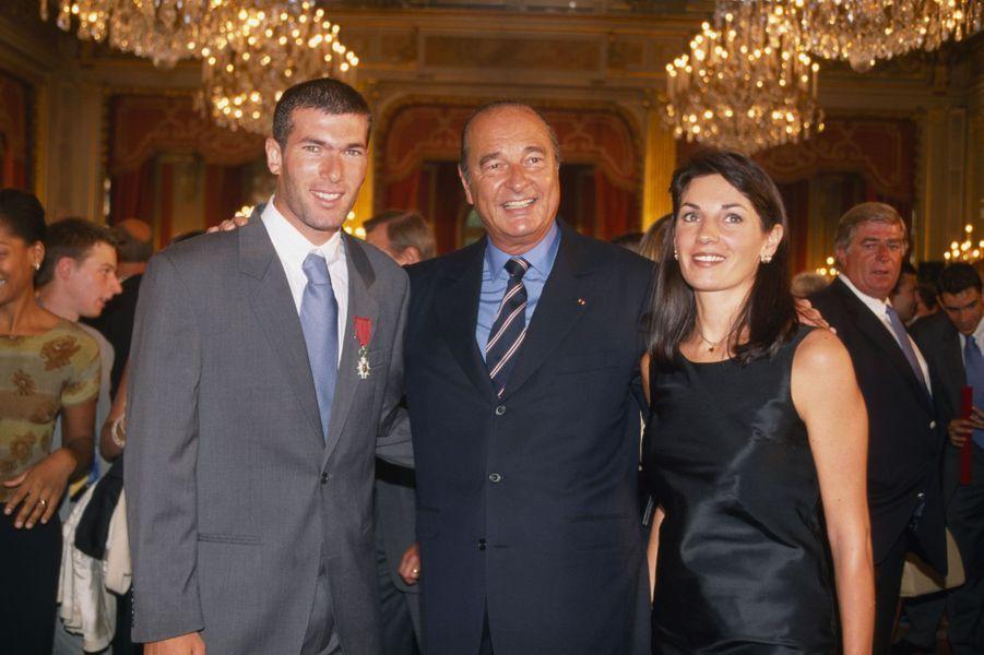 Véronique et Zinédine Zidane avec Jacques Chirac