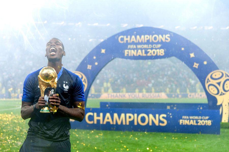 Paul Pogba après la victoire des Bleus le 15 juillet 2018 à Moscou