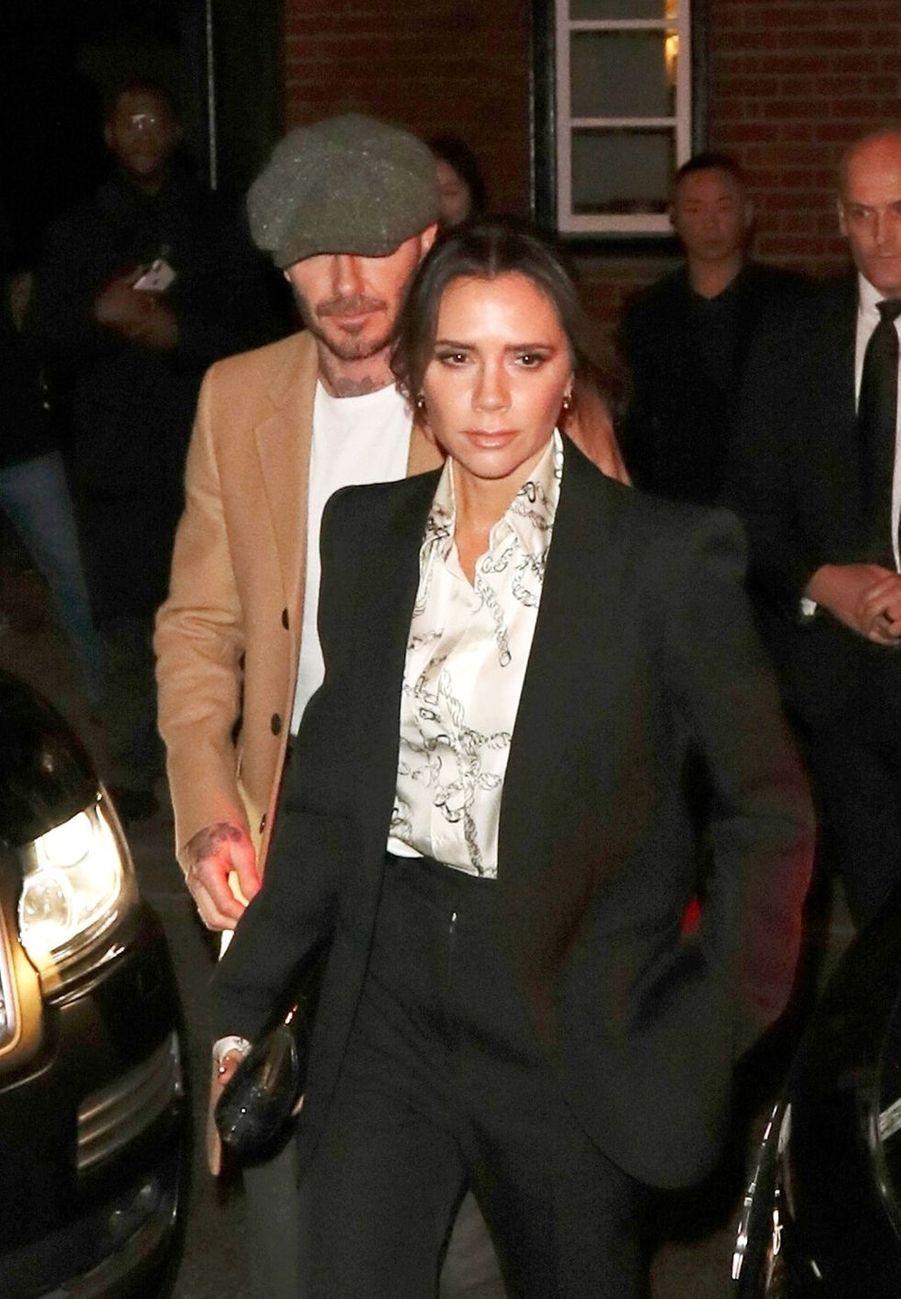 David Beckham et Victoria Beckham se rendent à la soirée de Derek Blasberg à Londres, le 17 février 2019.