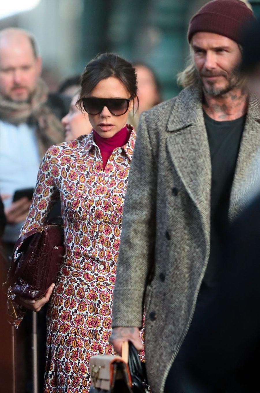 Victoria et David Beckham, Gare du Nord à Paris le 17 janvier 2018
