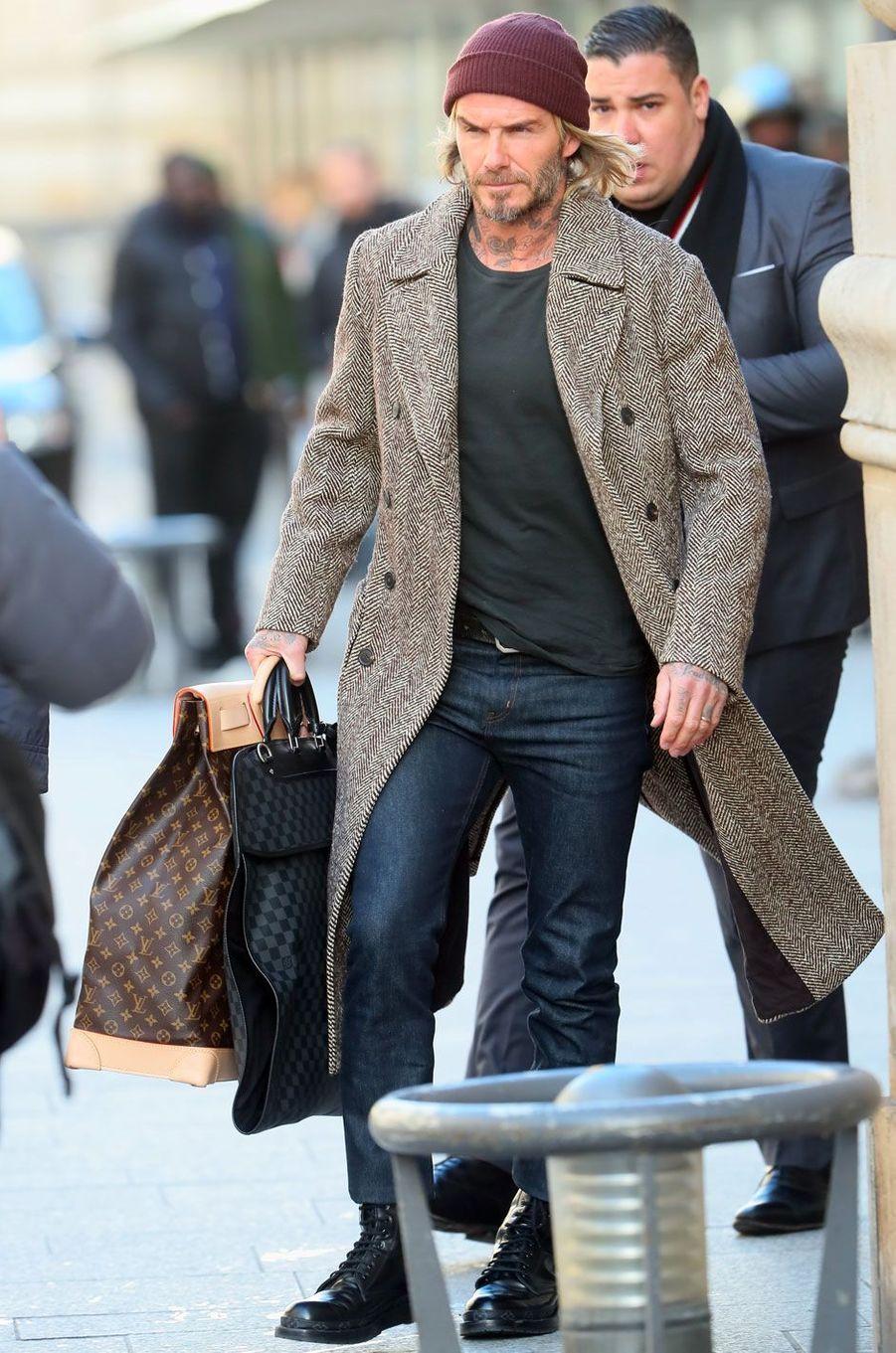 David Beckham, Gare du Nord à Paris le 17 janvier 2018