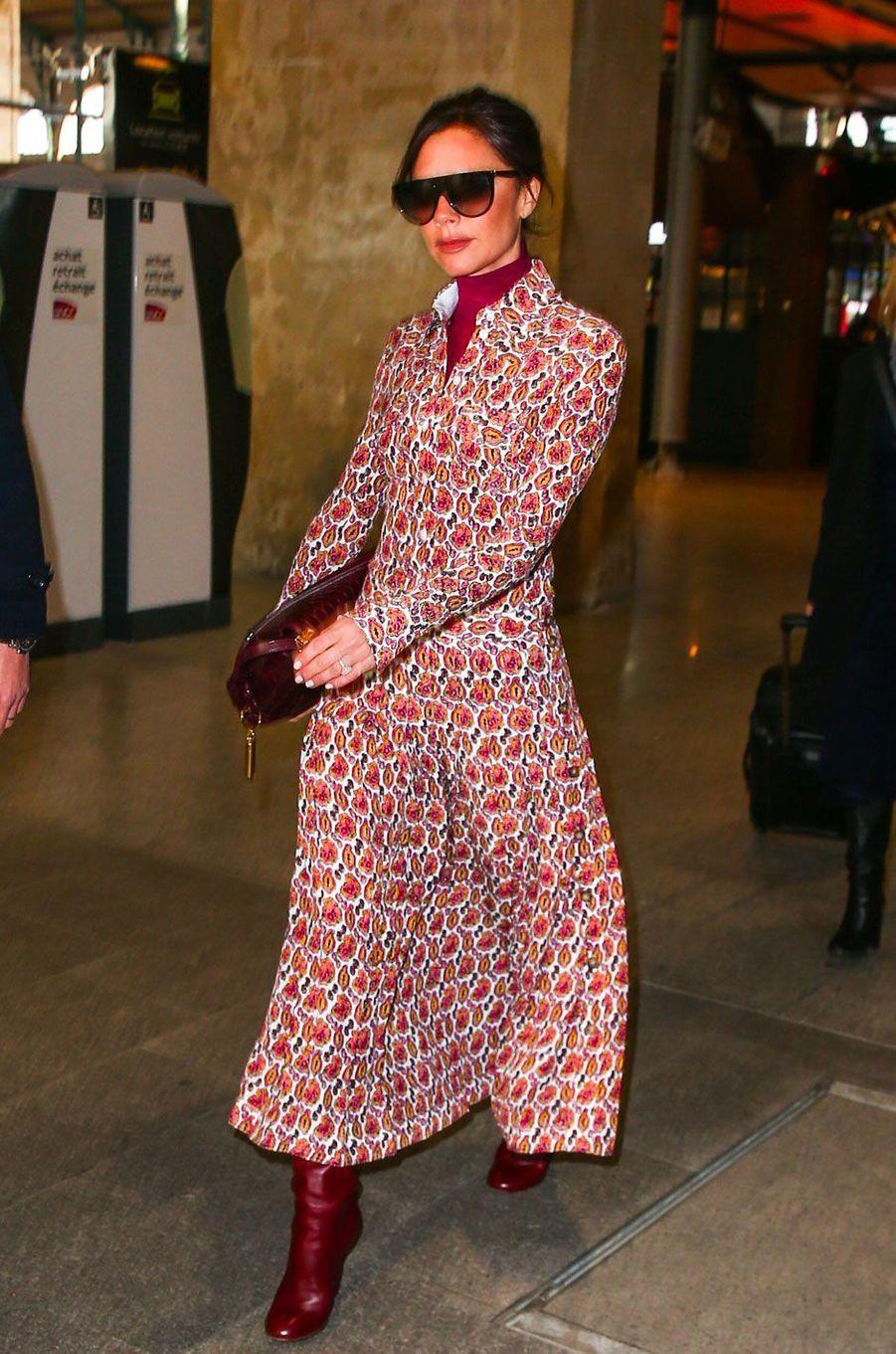 Victoria Beckham, Gare du Nord à Paris le 17 janvier 2018