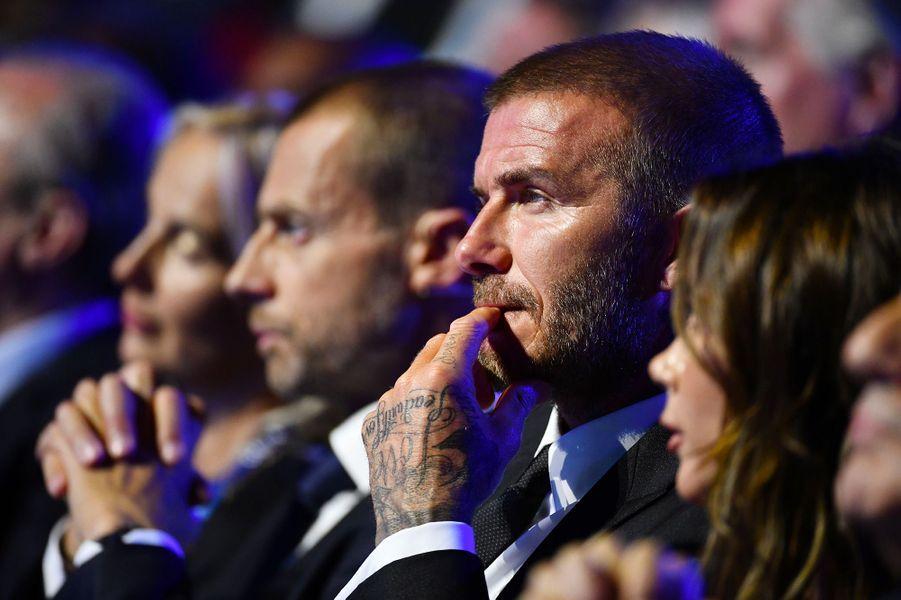 David Beckham au tirage au sort de la phase de groupe de l'UEFA Champions League à Monaco, jeudi 30 août
