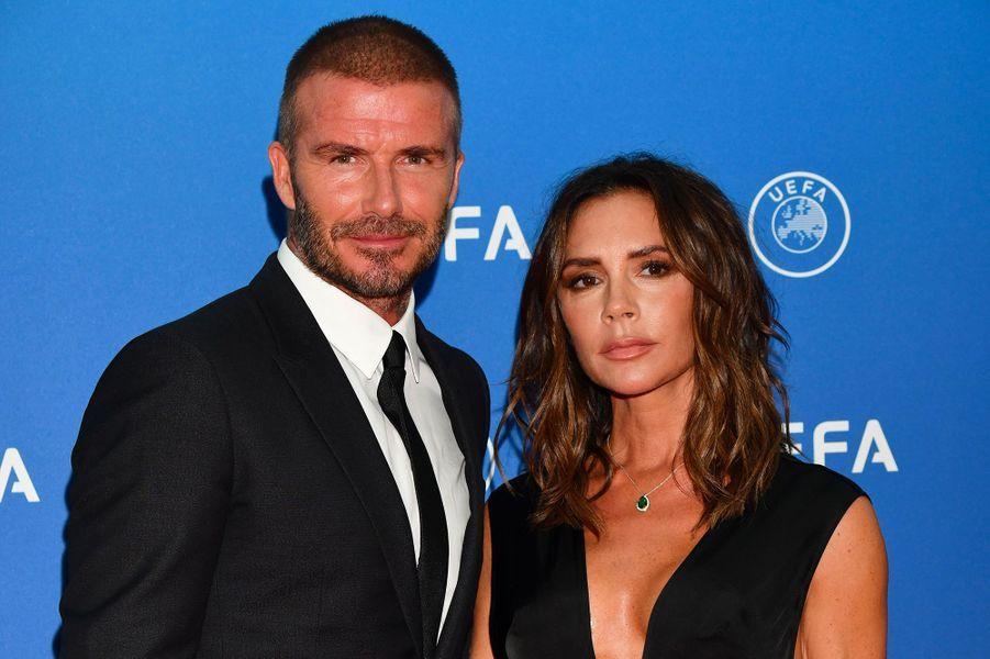 Victoria et David Beckham au tirage au sort de la phase de groupe de l'UEFA Champions League à Monaco, jeudi 30 août