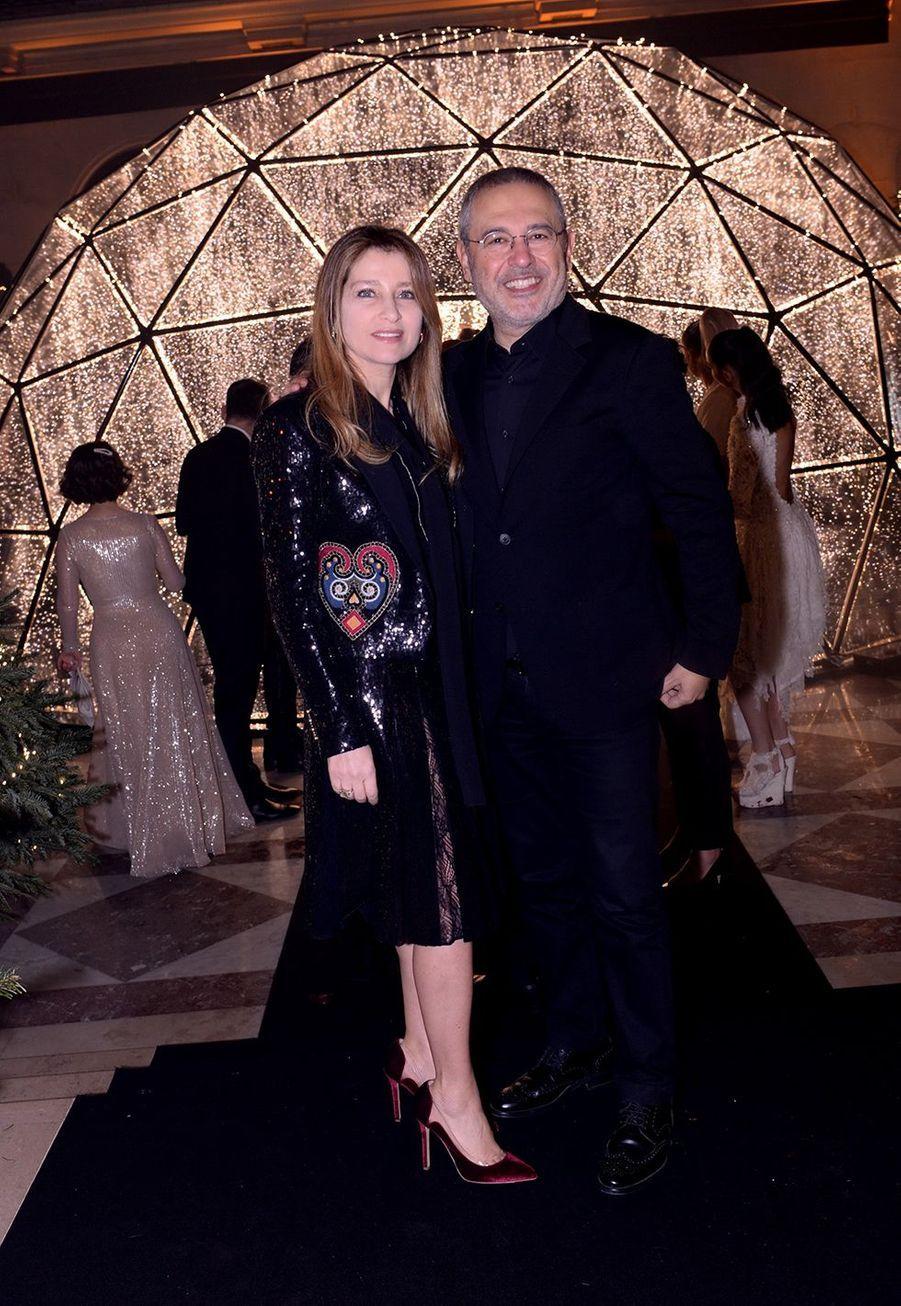Elie Saab et sa femme Claudineau Four Seasons Hotel George V à Paris le 7 décembre 2019